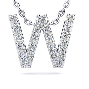 W Initial Necklace In 1.4 Karat Gold™ With 25 Diamonds, 18 Inches