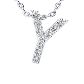 Y Initial Necklace In 1.4 Karat Gold™ With 10 Diamonds, 18 Inches
