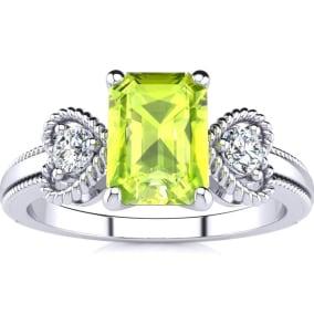1 1/4 Carat Peridot and Two Diamond Heart Ring In 1.4 Karat White Gold™