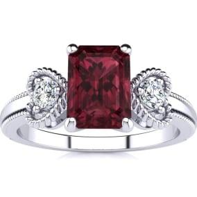 1 1/2 Carat Garnet and Two Diamond Heart Ring In 1.4 Karat White Gold™