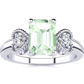 1 Carat Green Amethyst and Two Diamond Heart Ring In 1.4 Karat White Gold™