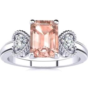 1 Carat Morganite and Two Diamond Heart Ring In 1.4 Karat White Gold™