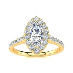 1 Carat Marquise Halo Diamond Engagement Ring in 14 Karat Yellow Gold