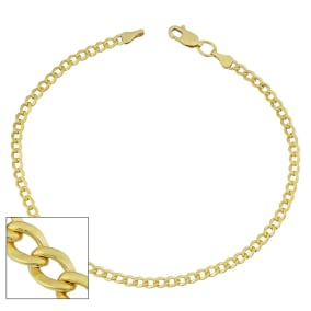 3.3mm Curb Link Chain Bracelet, 8 1/2 Inches, Yellow Gold