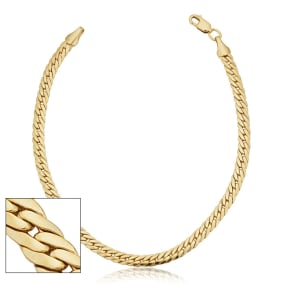3.9mm Bombay Curb Link Chain Bracelet, 7 1/2 Inches, Yellow Gold