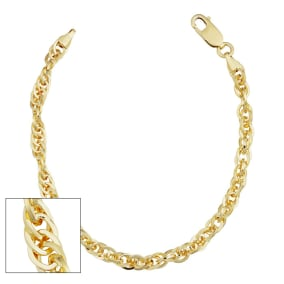 5.2mm Double Cable Link Chain Bracelet, 7 1/2 Inches, Yellow Gold