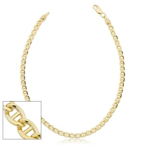 3.4mm Mariner Link Chain Bracelet, 8 1/2 Inches, Yellow Gold