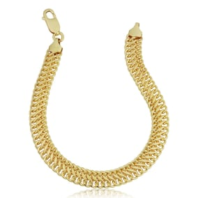 7.5mm Saduza Link Chain Bracelet, 7 1/2 Inches, Yellow Gold