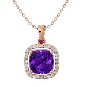2 1/4 Carat Cushion Cut Amethyst and Halo Diamond Necklace In 14 Karat Rose Gold, 18 Inches