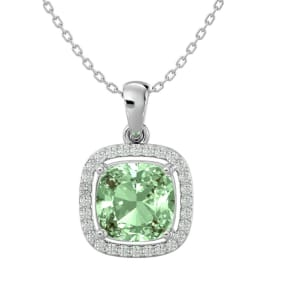 2 1/4 Carat Cushion Cut Green Amethyst and Halo Diamond Necklace In 14 Karat White Gold, 18 Inches