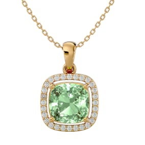2 1/4 Carat Cushion Cut Green Amethyst and Halo Diamond Necklace In 14 Karat Yellow Gold, 18 Inches
