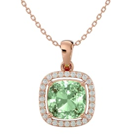 2 1/4 Carat Cushion Cut Green Amethyst and Halo Diamond Necklace In 14 Karat Rose Gold, 18 Inches