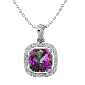 2 1/4 Carat Cushion Cut Mystic Topaz and Halo Diamond Necklace In 14 Karat White Gold, 18 Inches