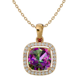 2 1/4 Carat Cushion Cut Mystic Topaz and Halo Diamond Necklace In 14 Karat Yellow Gold, 18 Inches