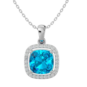 2 3/4 Carat Cushion Cut Blue Topaz and Halo Diamond Necklace In 14 Karat White Gold, 18 Inches