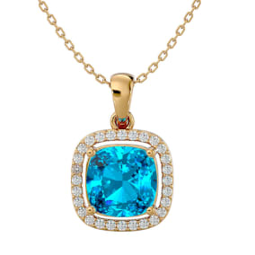 2 3/4 Carat Cushion Cut Blue Topaz and Halo Diamond Necklace In 14 Karat Yellow Gold, 18 Inches