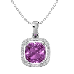2 3/4 Carat Cushion Cut Pink Topaz and Halo Diamond Necklace In 14 Karat White Gold, 18 Inches