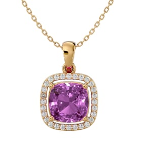 2 3/4 Carat Cushion Cut Pink Topaz and Halo Diamond Necklace In 14 Karat Yellow Gold, 18 Inches