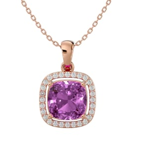 2 3/4 Carat Cushion Cut Pink Topaz and Halo Diamond Necklace In 14 Karat Rose Gold, 18 Inches
