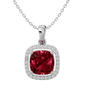 3 1/2 Carat Cushion Cut Garnet and Halo Diamond Necklace In 14 Karat White Gold, 18 Inches