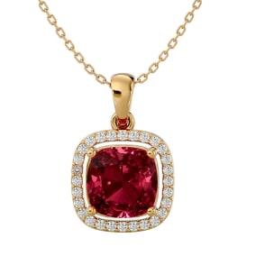 3 1/2 Carat Cushion Cut Garnet and Halo Diamond Necklace In 14 Karat Yellow Gold, 18 Inches
