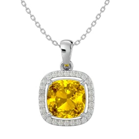 2 1/4 Carat Cushion Cut Citrine and Halo Diamond Necklace In 14 Karat White Gold, 18 Inches
