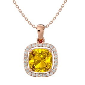 2 1/4 Carat Cushion Cut Citrine and Halo Diamond Necklace In 14 Karat Rose Gold, 18 Inches