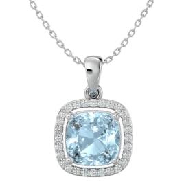 2 1/4 Carat Cushion Cut Aquamarine and Halo Diamond Necklace In 14 Karat White Gold, 18 Inches