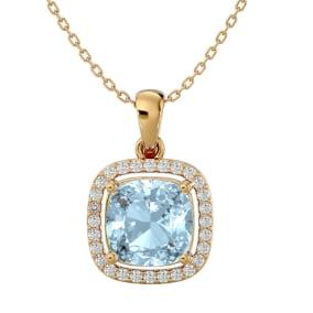 2 1/4 Carat Cushion Cut Aquamarine and Halo Diamond Necklace In 14 Karat Yellow Gold, 18 Inches