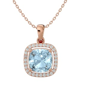 2 1/4 Carat Cushion Cut Aquamarine and Halo Diamond Necklace In 14 Karat Rose Gold, 18 Inches