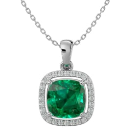 2 1/4 Carat Cushion Cut Emerald and Halo Diamond Necklace In 14 Karat White Gold, 18 Inches
