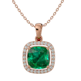 2 1/4 Carat Cushion Cut Emerald and Halo Diamond Necklace In 14 Karat Rose Gold, 18 Inches