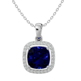 3 1/4 Carat Cushion Cut Sapphire and Halo Diamond Necklace In 14 Karat White Gold, 18 Inches