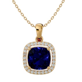 3 1/4 Carat Cushion Cut Sapphire and Halo Diamond Necklace In 14 Karat Yellow Gold, 18 Inches