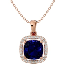 3 1/4 Carat Cushion Cut Sapphire and Halo Diamond Necklace In 14 Karat Rose Gold, 18 Inches