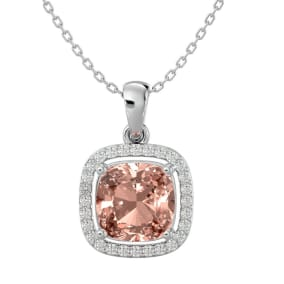 3 1/4 Carat Cushion Cut Morganite and Halo Diamond Necklace In 14 Karat White Gold, 18 Inches