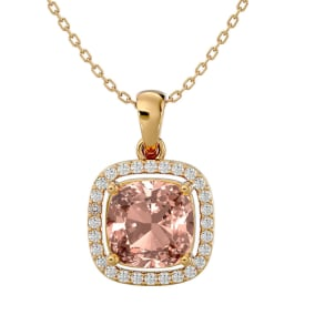 3 1/4 Carat Cushion Cut Morganite and Halo Diamond Necklace In 14 Karat Yellow Gold, 18 Inches
