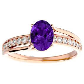 1 1/4 Carat Oval Shape Amethyst and Diamond Ring In 14 Karat Rose Gold