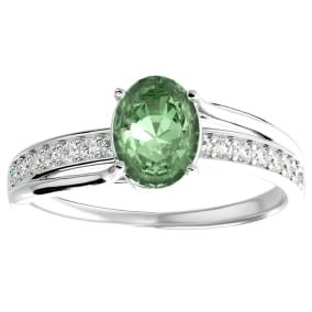 1 1/4 Carat Oval Shape Green Amethyst and Diamond Ring In 14 Karat White Gold
