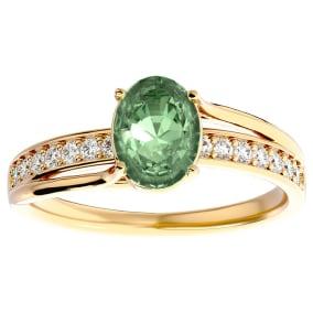1 1/4 Carat Oval Shape Green Amethyst and Diamond Ring In 14 Karat Yellow Gold