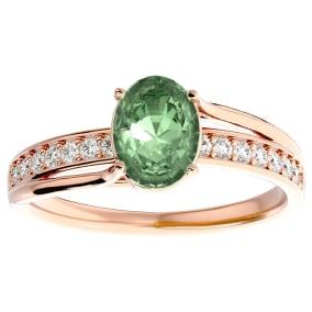 1 1/4 Carat Oval Shape Green Amethyst and Diamond Ring In 14 Karat Rose Gold