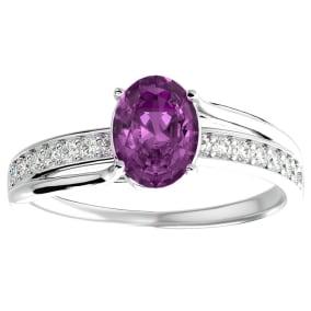 1 3/4 Carat Oval Shape Pink Topaz and Diamond Ring In 14 Karat White Gold