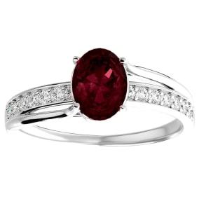 1 3/4 Carat Oval Shape Garnet and Diamond Ring In 14 Karat White Gold