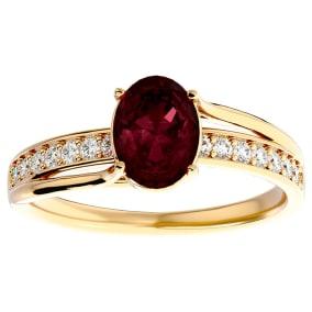 1 3/4 Carat Oval Shape Garnet and Diamond Ring In 14 Karat Yellow Gold