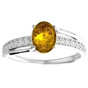 1 1/4 Carat Oval Shape Citrine and Diamond Ring In 14 Karat White Gold