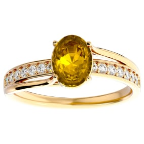 1 1/4 Carat Oval Shape Citrine and Diamond Ring In 14 Karat Yellow Gold