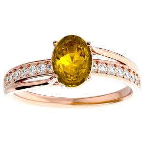 1 1/4 Carat Oval Shape Citrine and Diamond Ring In 14 Karat Rose Gold