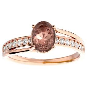1 1/3 Carat Oval Shape Morganite and Diamond Ring In 14 Karat Rose Gold