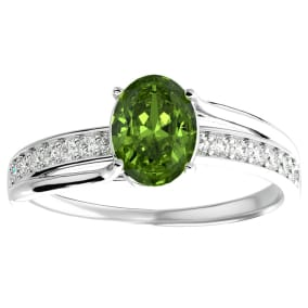 1 1/2 Carat Oval Shape Peridot and Diamond Ring In 14 Karat White Gold