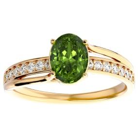1 1/2 Carat Oval Shape Peridot and Diamond Ring In 14 Karat Yellow Gold